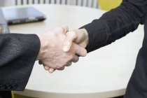 Cropped image of two people shaking hands — Stock Photo