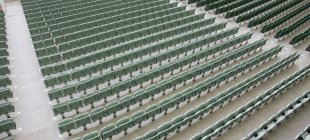 High angle view of rows of empty stadium seats — Stock Photo
