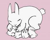 Иллюстрация кролика, обнимающего четырех младенцев — стоковое фото
