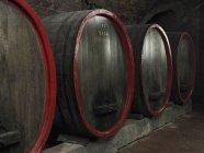 Fila de barris de vinho na adega — Fotografia de Stock