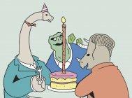 Tre dinosauri seduti a tavola con torta di compleanno — Foto stock