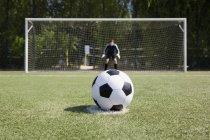 Bouchent la vue de ballon de football devant le poteau de but avec le gardien — Photo de stock