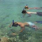 Tre snorklers galleggiante in acque poco profonde — Foto stock