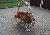 Geranios en cesta decorativa sobre pavimento - foto de stock