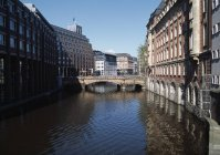 VIew to city canal and bridge in Hamburg, Germany — Stock Photo