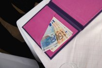 Banconote in euro nella cartella delle banconote rosa sul tavolo — Foto stock