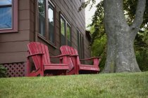 Two red wooden chairs near tree in yard — Stock Photo