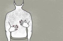 Vista posteriore dell'uomo senza camicia con le mani della donna sulla schiena contro lo sfondo grigio — Foto stock