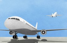 Airplane on runway against blue sky with rear view of plane taking off — Stock Photo