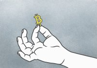 Cropped hand of holding Bitcoin symbol against gray background — Stock Photo