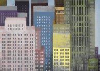 Ilustração dos arranha-céus coloridos vibrantes — Fotografia de Stock
