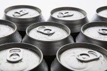 Кадроване зображення мокрій холодних алюмінієвих банок напій — стокове фото