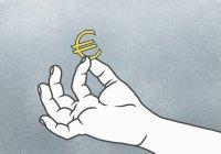 Illustrazione del segno dell'euro che tiene la mano — Foto stock