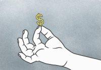 Illustrazione di mano che tiene il segno del dollaro — Foto stock