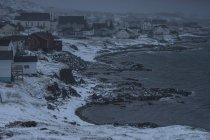 View of town on icy coastline, Twillingate, Newfoundland, Canada — Stock Photo