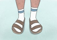 Low section man with hairy legs wearing socks and sandals — Stock Photo