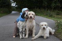 Menina bonito retrato, abraçando os cães em estrada rural — Fotografia de Stock