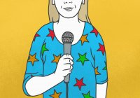 Woman wearing star-shaped shirt talking into microphone — Stock Photo