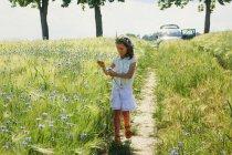 Ragazza raccogliendo fiori di campo viola in soleggiato, idilliaco campo rurale — Foto stock