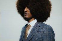 Портрет серйозний добре одягнений молодий чоловік з афро — стокове фото