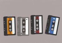 Cassette tapes in a row — Stock Photo