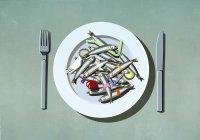 Сардины, пластиковые соломинки и загрязнение на тарелке — стоковое фото