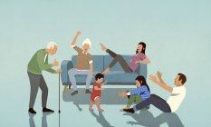 Happy multi-génération famille acclamations dans le salon — Photo de stock