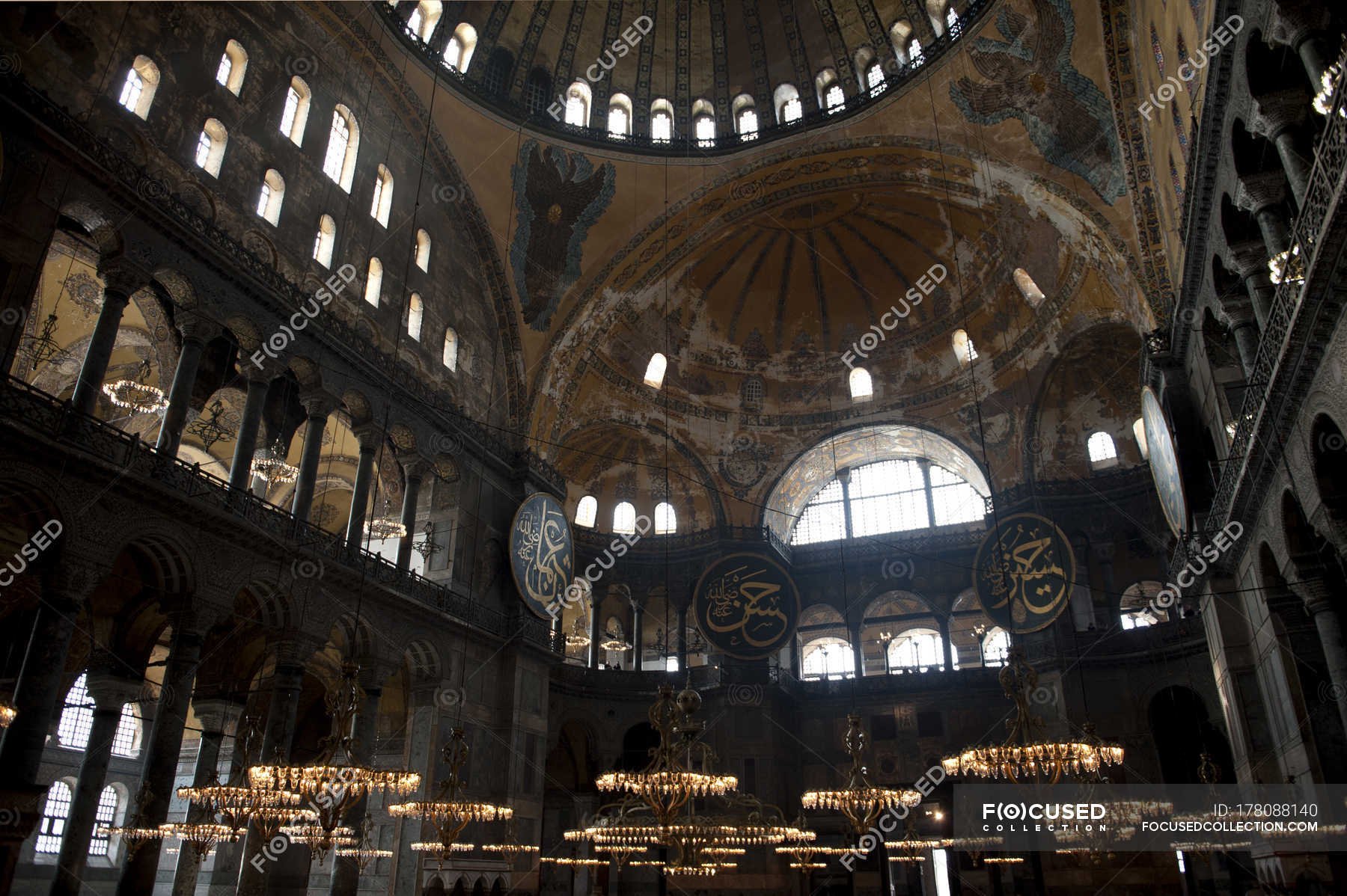 Interior View Of Ancient Mosque Ceiling Stock Photo