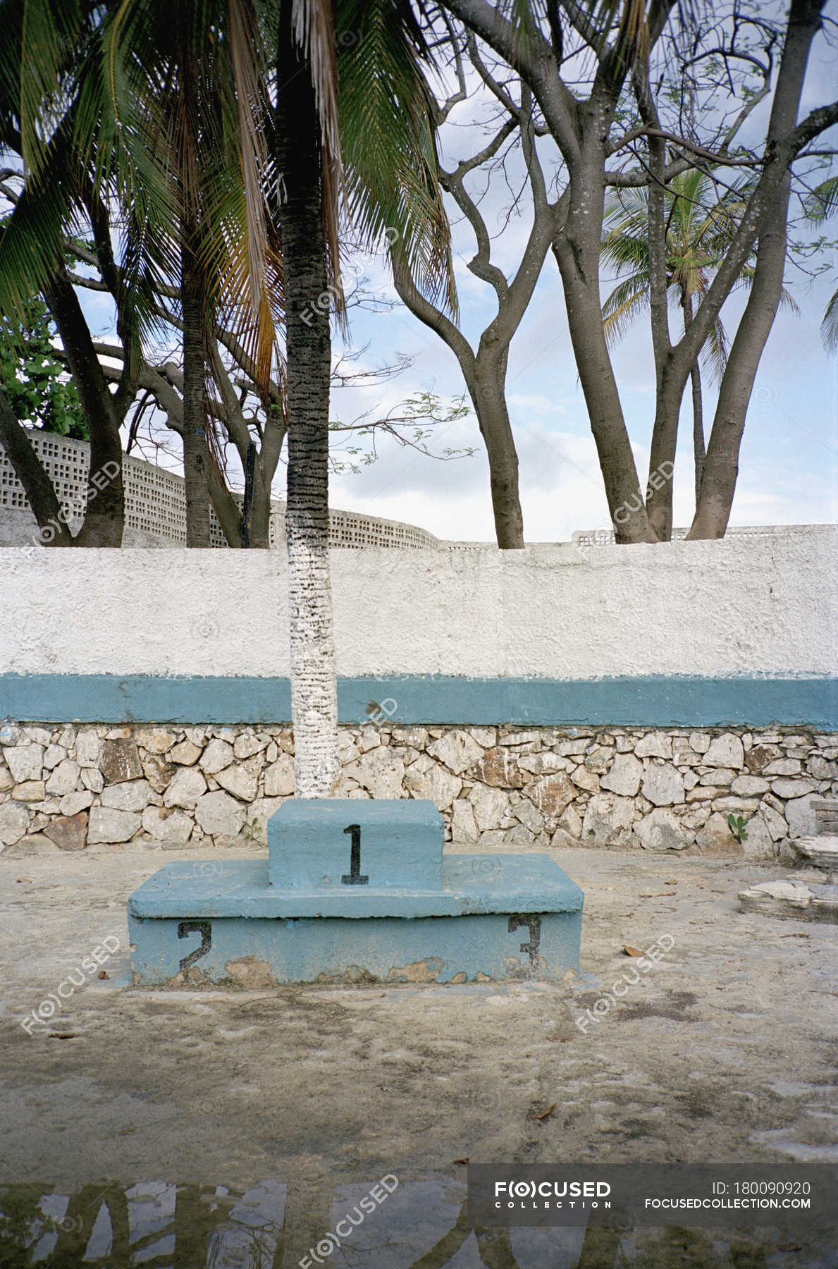Old Winners Podium At Abandoned Swimming Pool Complex Background Absence Stock Photo 180090920