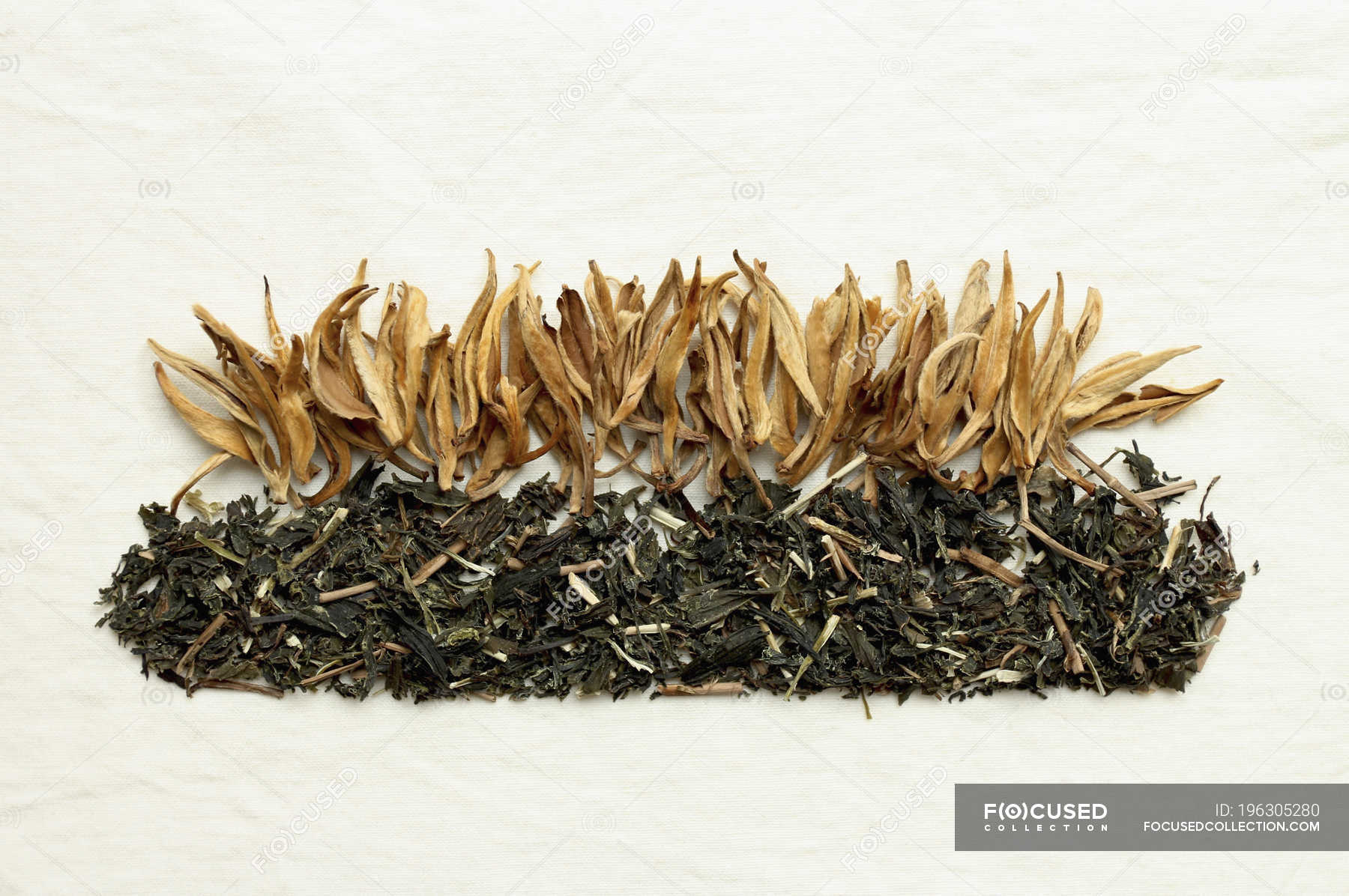 Arrangement Of Dried Tea Leaves And Flowers On White Background Order Still Life Stock Photo 196305280