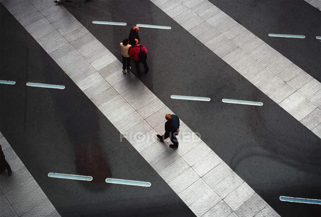 Top view of people walking at building hall — Stock Photo