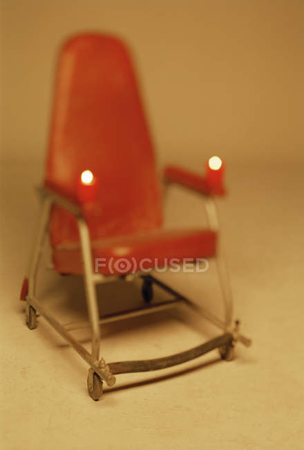Close up view of red armchair on white background — Stock Photo