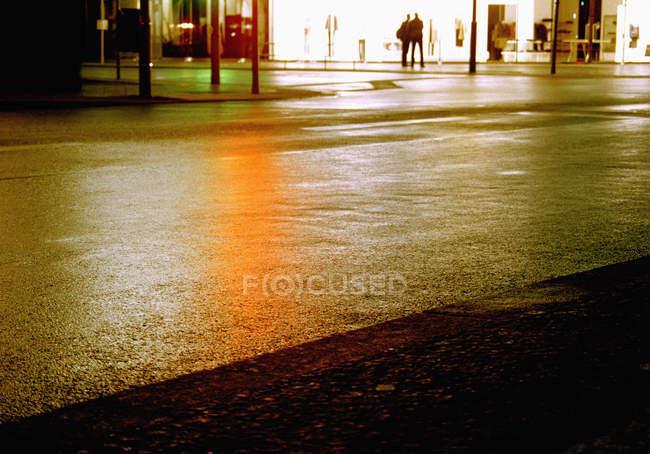 Strada asfaltata che riflette semafori alla scena di strada di notte — Foto stock