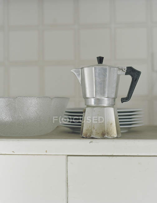 Vintage espresso maker on kitchen buffet — Stock Photo