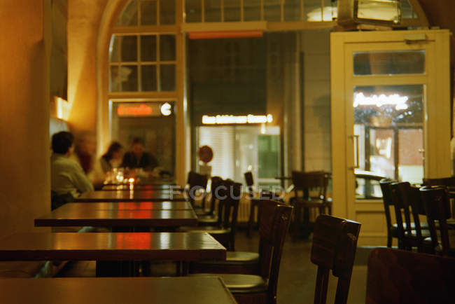 Interior of bistro cafe at night — Stock Photo