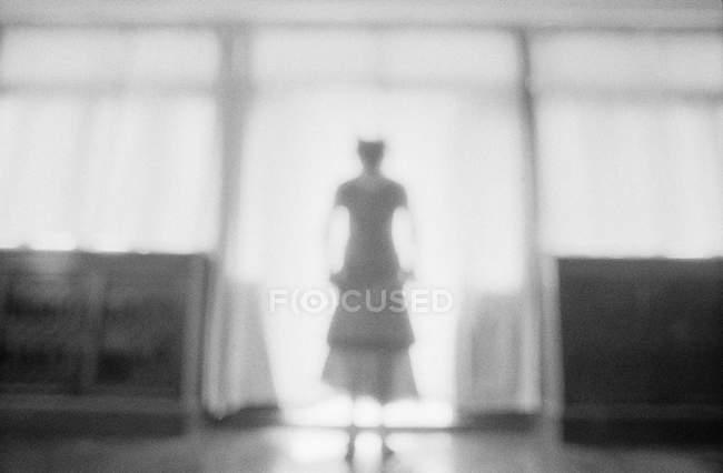 Silueta femenina borrosa de pie en la puerta de la terraza detrás de los cajones - foto de stock