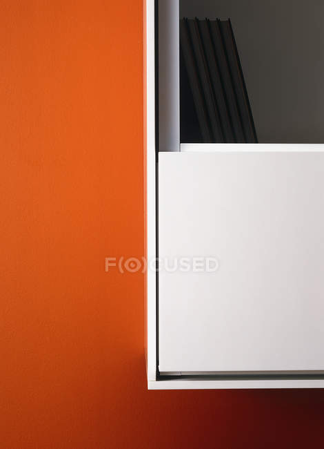 Abstract geometrical close up view of office bookshelf — Stock Photo