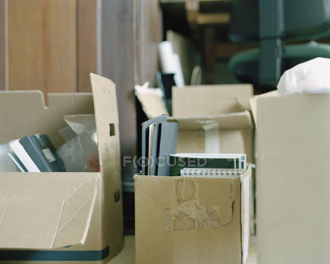 Close up view of packed cardboard boxes — Stock Photo