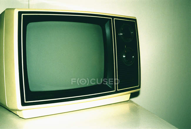 Close up view of vintage television — Stock Photo