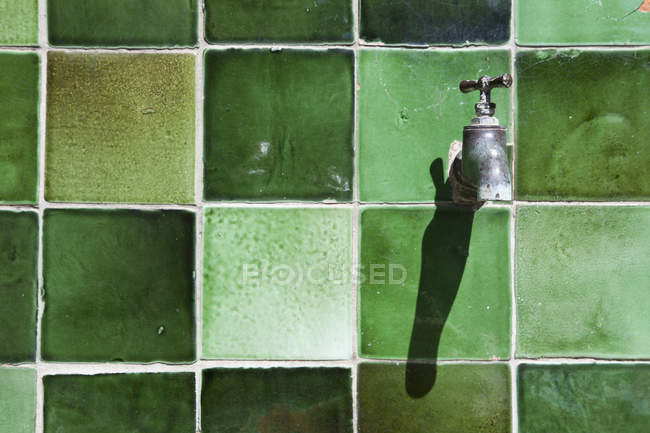 Close up view of tap on green tiled wall — Stock Photo