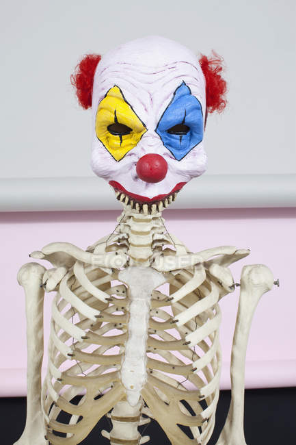 Human skeleton in clown mask — Stock Photo