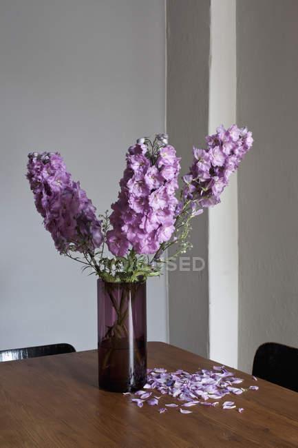 Ваза з фіолетовими квітами Delphinium на стіл з купою пелюстки — стокове фото