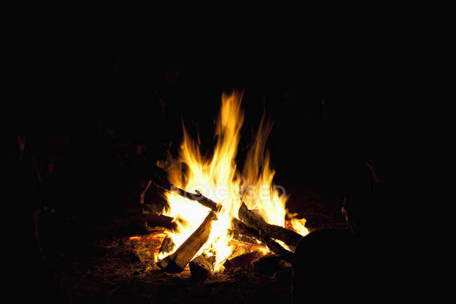 Bright campfire flame burning at night — Stock Photo