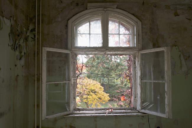 Ein offenes Fenster in einem verlassenen Gebäude, Beelitz-Heilstätten, Deutschland — Stockfoto