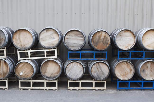 Linhas de barris de vinho empilhados na adega — Fotografia de Stock