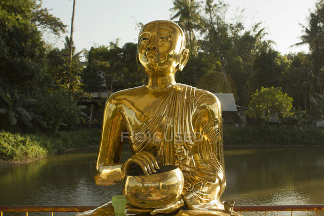 Golden Buddha statue over lake with palm trees on shore — Stock Photo