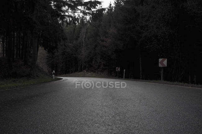 A curved road and trees on sides — Stock Photo