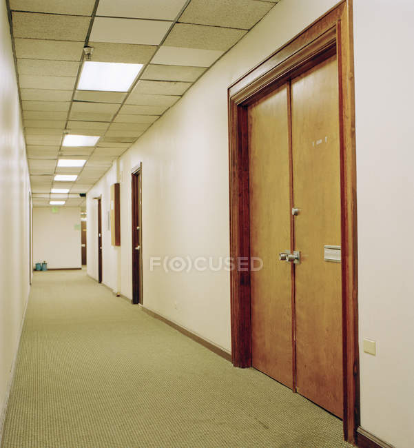 Interior view of empty office hallway — Stock Photo