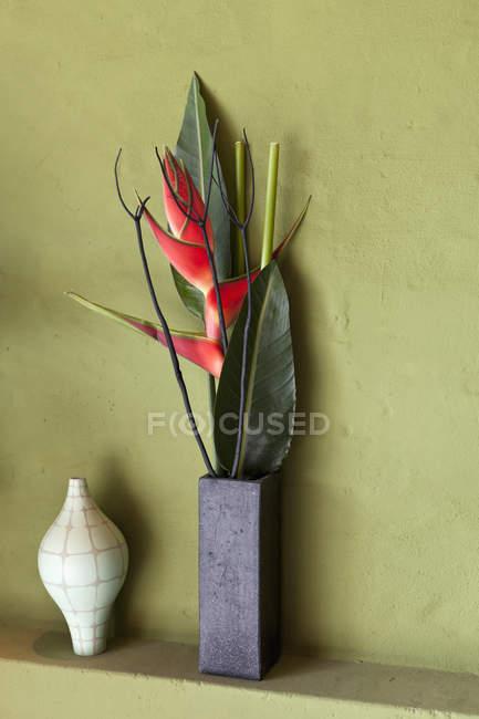 Цветы и вазы на полке — стоковое фото