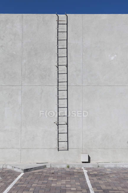 Metal ladder on concrete facade of sunlit building — Stock Photo